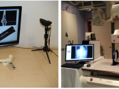 Figure: Low cost simulators for teaching the principles of image-guided navigation and the motor skills required for usage of a fluoroscopy machine. In both cases, cost containment is achieved via use of open source software and consumer grade hardware, a webcam for tracking.